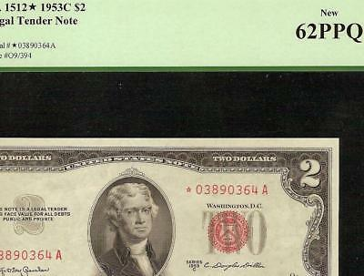 UNC 1953C STAR $2 DOLLAR BILL UNITED STATES LEGAL TENDER NOTE KEY Fr 1512* PCGS