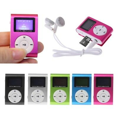 Metal Mini Clip USB MP3 Media Player LCD Screen Support 32GB Micro SD TF Card