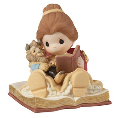 New PRECIOUS MOMENTS DISNEY Figurine BEAUTY BEAST BELLE Statue DOLL READING BOOK