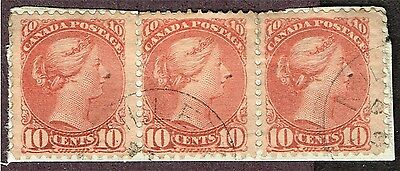 """CANADA SMALL QUEEN F-VF STRIP WITH 45iv """"GASH IN 1"""" VARIETY 45iii MAJOR RE-ENTRY"""