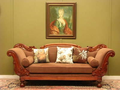 Vintage Mahogany And Velvet Double Ended 3 Seater Chaise Sofa ~ Fine Carving