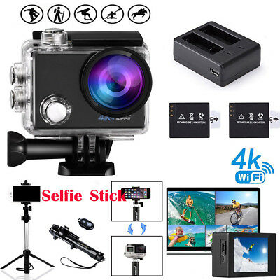 Sport Camera Ultra 4K WiFi HD 1080P 16MP Bluetooth Selfie Stick Action Camcorder