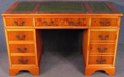 Georgian Style Yew Wood Leather Top 6 Drawer Pedestal Desk With Door