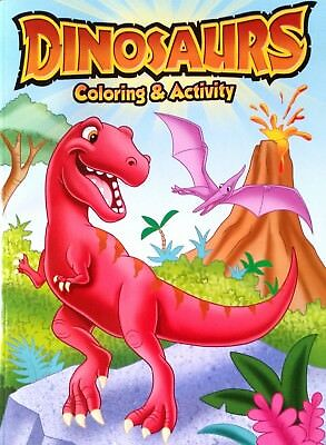 DINOSAURS 96 Page Kids Colouring Book Xmas Stocking Filler Gift  NEW Free Post