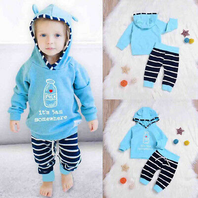 Toddler Baby Boys Tops Hoodie Striped Pants Home Outfits 2Pcs Set Clothes 0-2T