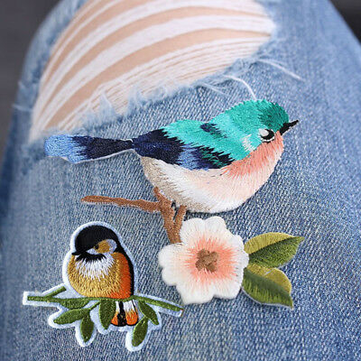 Fashion Flower Craft Sewing Embroidered Sew/Iron On Applique Patch Birds
