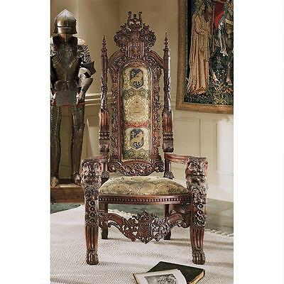 Gothic Hand-carved Mahogany European style Medieval Antique Replica Throne Chair