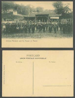 China Boxer Rebellion Old Postcard Chinese Gen. Regiment, Mandarin Troops Parade