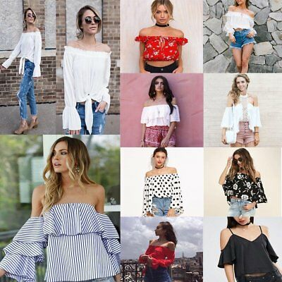 Women's Off Shoulder Long Sleeve Fashion Shirt Casual Blouse Tops Loose T-shirt