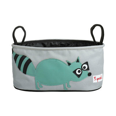 NEW 3 Sprouts Stroller Organiser - Teal Raccoon