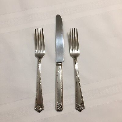 """Lot of 2 DINNER FORKS & 1 KNIFE MONROE SILVER CO. Silver Plate """"THREE"""" Flatware"""