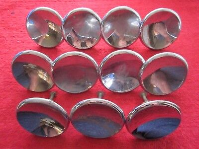 "11 Vintage Mid Century 2 1/2"" Chrome Over Brass Concave Drawer Pull Knobs"
