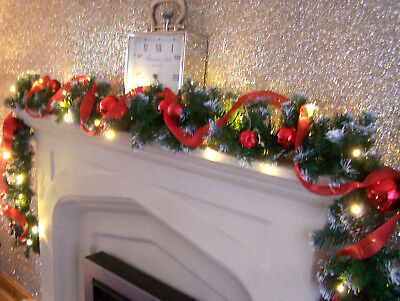Luxury 2.7m Red Bauble Red Ribbon Frosted Christmas Garland Apples acorns 9ft