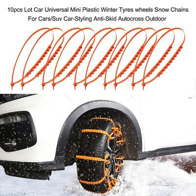 10pcs Anti-Skid Chains Traction Cars Wires Winter Protection Tyres Wheels C3Y9