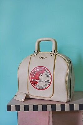 """Awesome Vintage """"lucky Ten Champion Challenge"""" Bowling Bag! Graphic Mid Century!"""