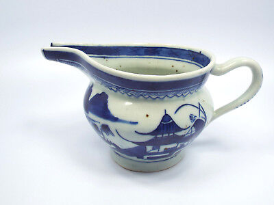 Antique 19th Century Chinese Export Canton Blue & White Porcelain Small Pitcher