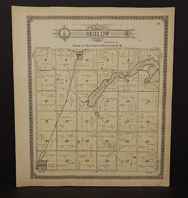 Minnesota Nobles County Map Bigelow Township 1914  L15#33