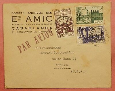 1940's French Morocco Airmail Cover To Studebaker Car Co Usa