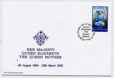 ISLE OF MAN 2002 QUEEN MOTHER COMMEMORATION on FIRST DAY COVER