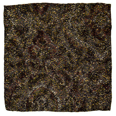 "New SANTOSTEFANO Black Gold Brown 12"" Silk Pocket Square Handkerchief NWT $150"