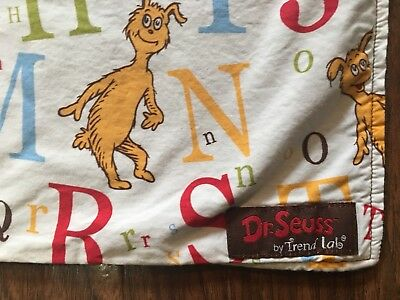 Trend Lab DR. SEUSS ABC Alphabet Baby Blanket Brown Minky Lovey EUC