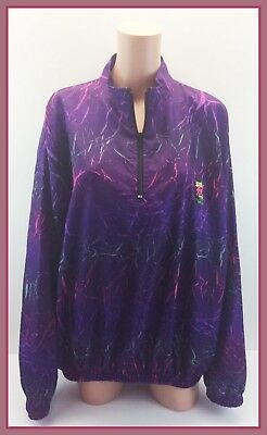 1990s Vintage Surf Style Purple Multi-Colored Pullover Windbreaker One Size