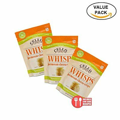 3 Pack Value: Cello Whisps Pure Parmesan Cheese Crisps New