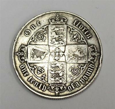1862 Great Britain Gothic silver Florin Extremely scarce key date F15 original
