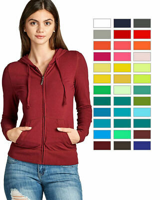 Women's Basic Zip Up Long Sleeve Hoodie Jacket Lined Drawstring Hood w/ Pockets
