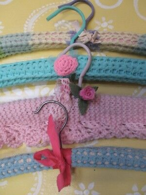 4 Gorgeous Vintage Crochet Covered Coat Hangers Divine Colours!! Shabby Darlings