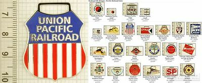 Pacific Lines railroad decorative fobs, various designs & leather strap options