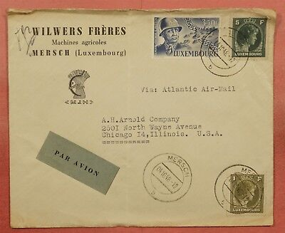 1948 Luxembourg Mersch Cancel Airmail Cover To Usa