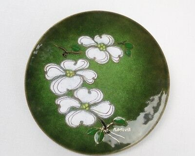 Vintage Mid Century Modern DOGWOOD ENAMEL ON COPPER PLATE Margaret Ratcliff