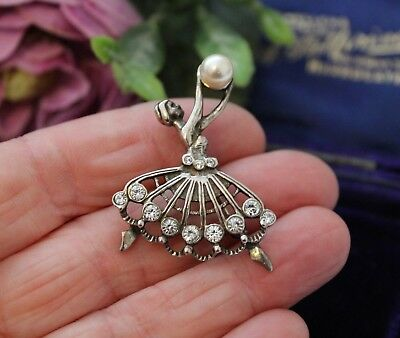 Vintage Sterling Silver Ballerina Brooch Pin With Faceted Stones And Faux Pearl