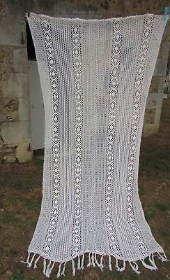LARGE ANTIQUE FRENCH HAND SEWN COTTON CROCHET LACE CURTAIN PANEL c1930 3ft11x7ft