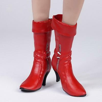 1/6 Red High Heeled Mid Boots Shoes for 12'' Hot Toys Phicen Kumik Figure