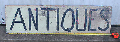 """Large Antique Trade Sign/""""Antiques"""" Oil on Thick Pine"""