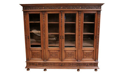 Antique Four Door French Renaissance Bookcase, Lots of Storage, Walnut, 19th Cty
