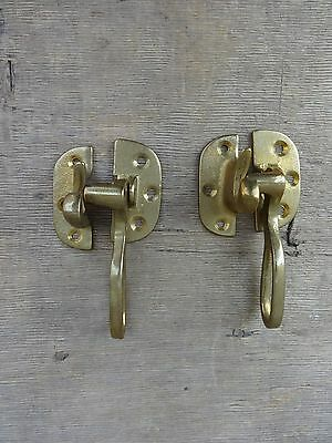 (2) Matching Solid Brass Ring Handled Refrigerator Door Latches New Old Stock NR