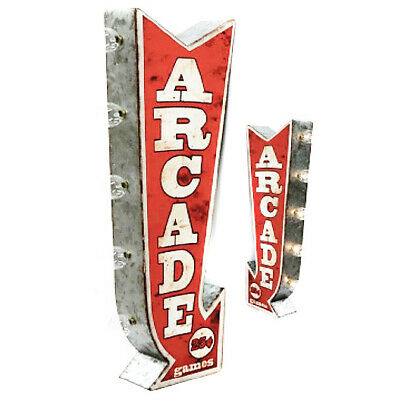 ARCADE PlugIn Battery Double Sided Arrow Vintage Rustic Metal Marquee Light Sign