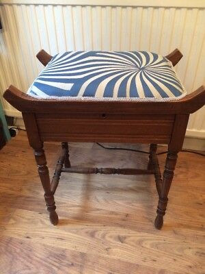 Old Solid Wooden Piano Stool With Lift Up Lid