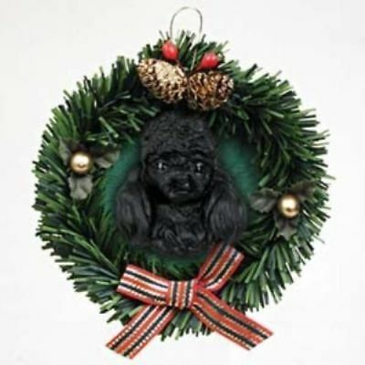Wreath Dog Xmas Ornament POODLE BLACK Pine Wreath RETIRED