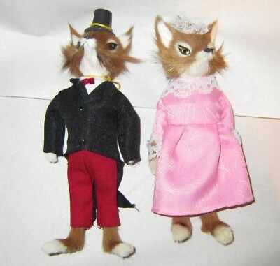 Dressed RED FOX COUPLE Standing Girl and Boy Fur Fox Couple