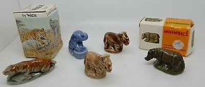 Lot of 5 Vintage Wade Whimsies Wild Life Series Animal Figurines & 2 Boxes