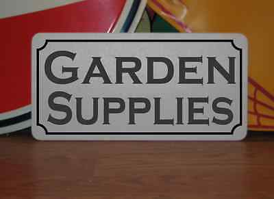 "GARDEN SUPPLIES Metal 6""x12"" Sign White with Black"