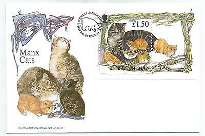 ISLE Of MAN 1996 CATS MINIATURE SHEET on FIRST DAY COVER