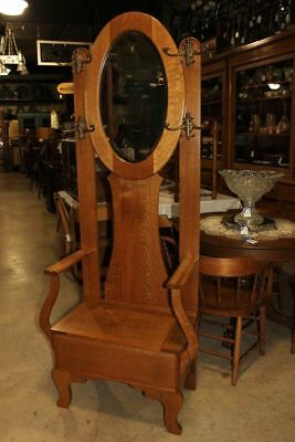 Antique Quartersawn Oak Hall Seat Chair Bench Oval Beveled Mirror 4 Coat Hooks