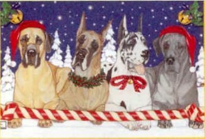 Ten Cards Pack GREAT DANE Dog Breed Christmas Cards USA made
