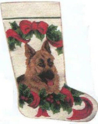 NP Quality GERMAN SHEPHERD Needlepoint Christmas Stocking RETIRED