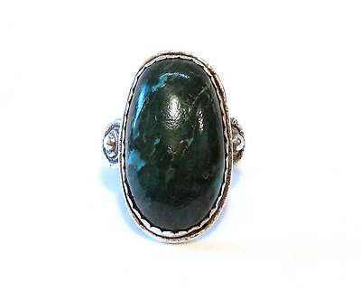 LARGE Vintage Malachite Ring Sterling Silver Green Stone Oval Native Size 8.75